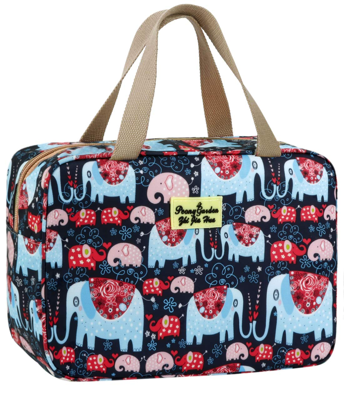 Toiletry Bag for Women Cosmetic Bag Large Toiletry Bag Navy Rose Toiletry Kit Leakproof Toiletry Bag for Girls Make Up Bag Floral Cosmetic Case (11.8L×5.1W×7.8H, Elephant)