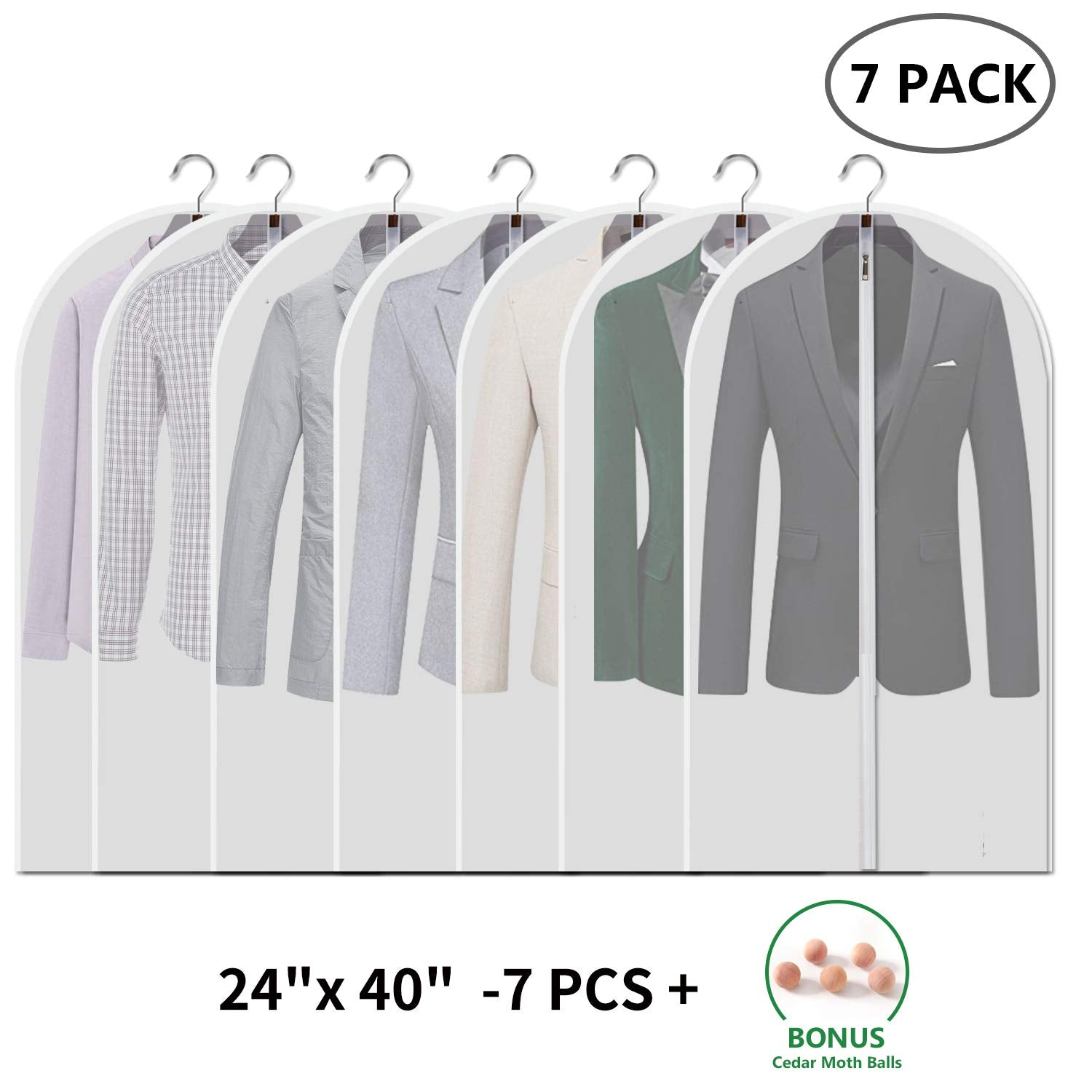Vosigreen Dust Proof Clear Garment Bags 7 Piece Set - 40 Inch Translucent Suit Bags with Full-Length Zipper for Closet Clothes Storage and Travel (2019 New Design). Bonus: 5 Natural Cedar Ball