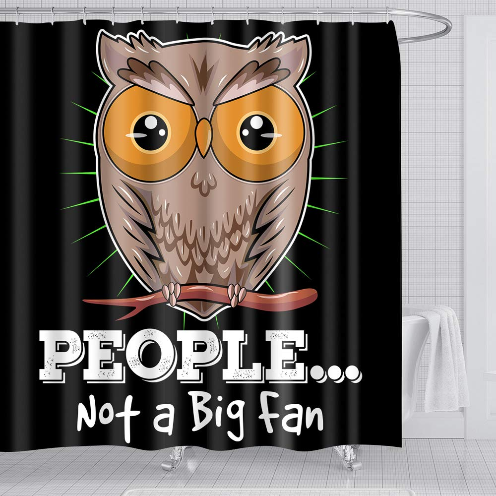 Owl Shower Curtain balck-Creative High Qulity Polyester Fabric 7272 Inches with 12pcs Shower Curtain Hooks for Kids Bathroom Decor