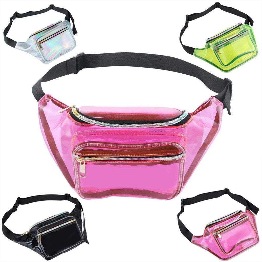 Neon Holographic Fanny Packs for Women Waterproof Fashion Waist Bag