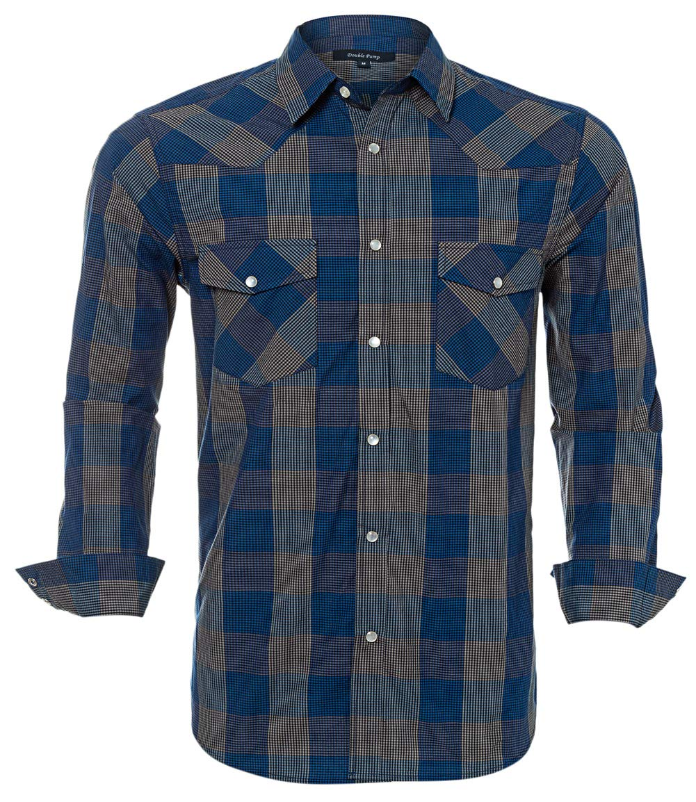 Western Shirts For Men With Snap Buttons Regular Fit Plaid Mens Long Sleeve Shirts Casual,Navy 006, Large