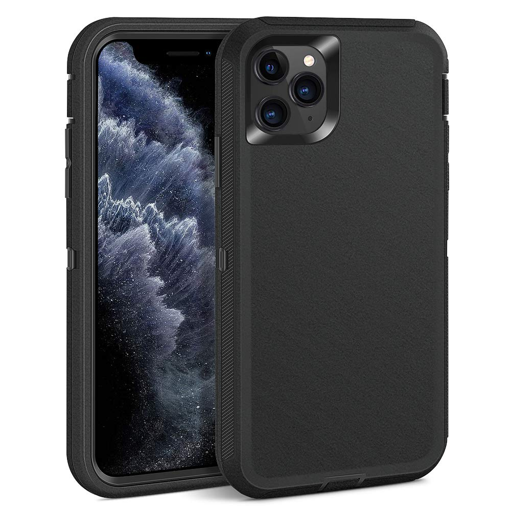 Dutyway iPhone 11 Pro Case,Full-Body Cover 3in 1 Hybrid Hard PC & Soft Rubber Rugged Bumper Shockproof Protective Phone Case for iPhone 11 Pro(5.8 inch),Black
