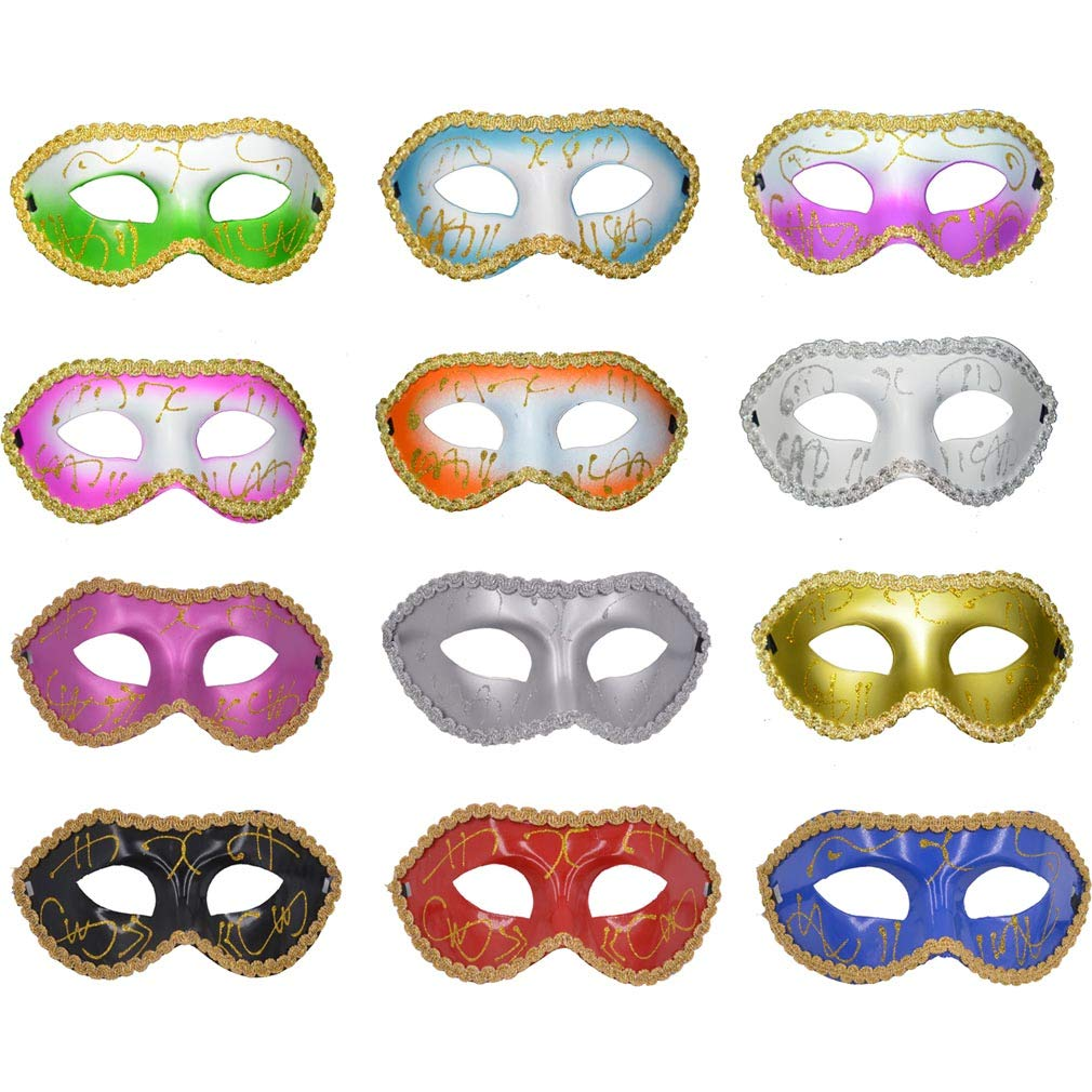 Yiseng 12pcs Pack Mardi Gras Masquerade Venetian Party Mask Dance Wedding Props Mix Color