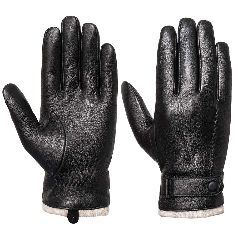 Mens Genuine Leather Gloves Winter - Acdyion Touchscreen Cashmere/Wool Lined Warm Dress Driving Gloves (Black/Cashmere, Large)