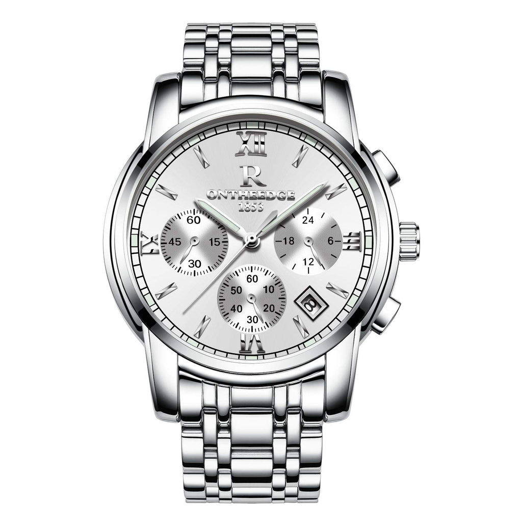 Mens Analog Quartz Wrist Watch -Business Casual Luminous Chronograph Quartz 30M Waterproof Wristwatch White Silver Stainless Steel Strap