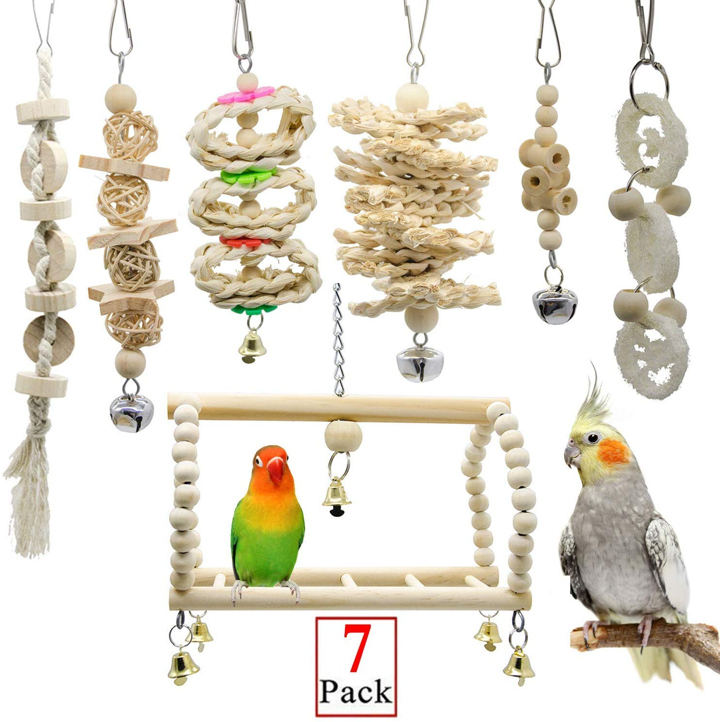 Askyorte Bird Swing Toys - 7 Packs Nature Wood Parrot Hammock Hanging Chewing Toys, Parakeet, Macaws Parrots, Cockatiel, Mynah, Love Birds Cages Decorative Accessories