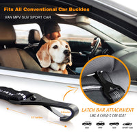 "Heavy Duty Dog Seat Belt Especially for Large Dogs, Elastic Nylon Safety Belt Adjustable from 28"" to 33"", Tangle-Free Swivel Attachment Carabiner and Latch Bar Attachment"