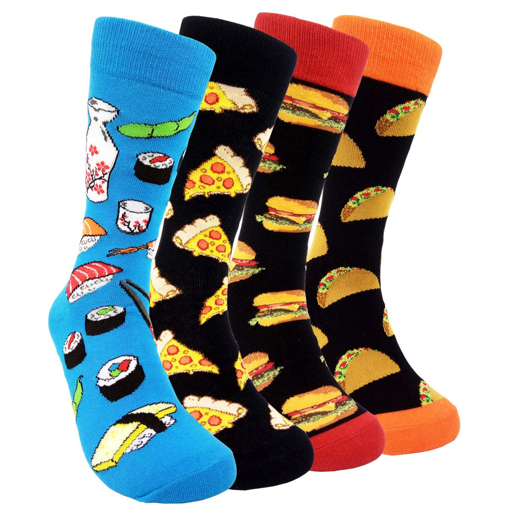 HSELL Mens Funny Food Pattern Dress Socks - Fun Novelty Sushi Cheese Burger Taco Crazy Design Fancy Sock Combed Cotton Funky Gift for Men (4 Pairs - Burger/Sushi/Cheese/Taco)
