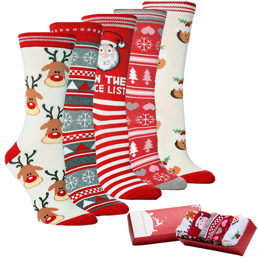 Womens Holiday Xmas Christmas Socks - Warm Winter Colorful Fun Cotton Dress Crew Socks For Novelty Christmas Gift (Pack of 5) (C1-Novelty Funky 5Pack)