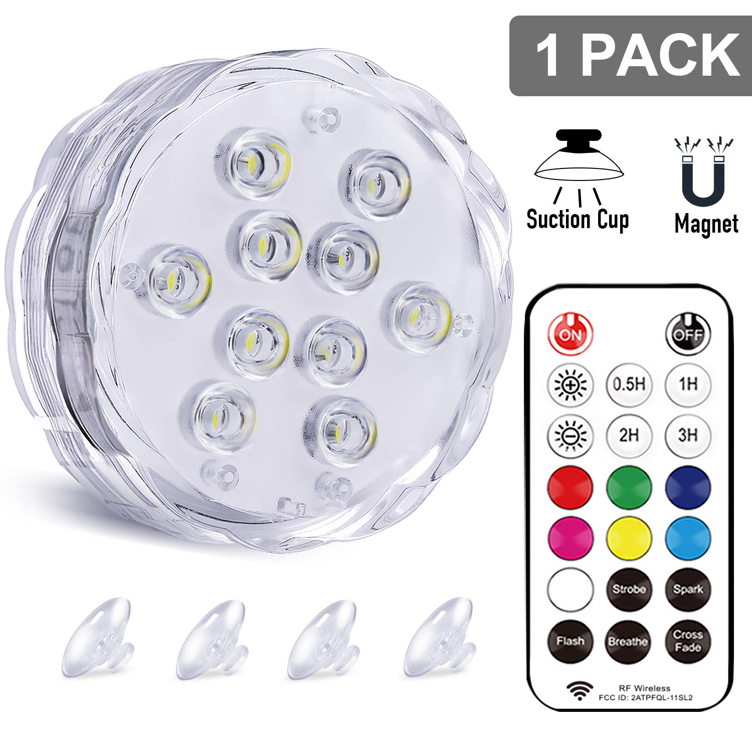 Qoolife RGBW Underwater LED Lights with Magnet, RF Remote and Suction Cups - 3.3