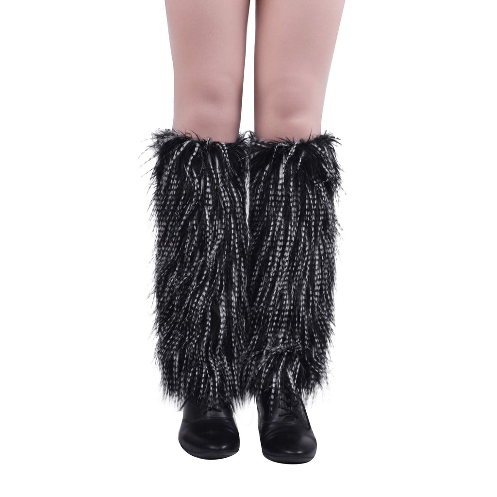 Nanxson Women's Girl Acrylic Long Leg Warmer with Fur Classic Solid Color Design TTW0034 (Strip)