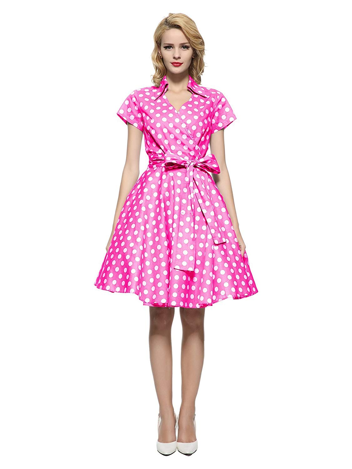 Maggie Tang 50s 60s Vintage Short Sleeves Ball Party Dress