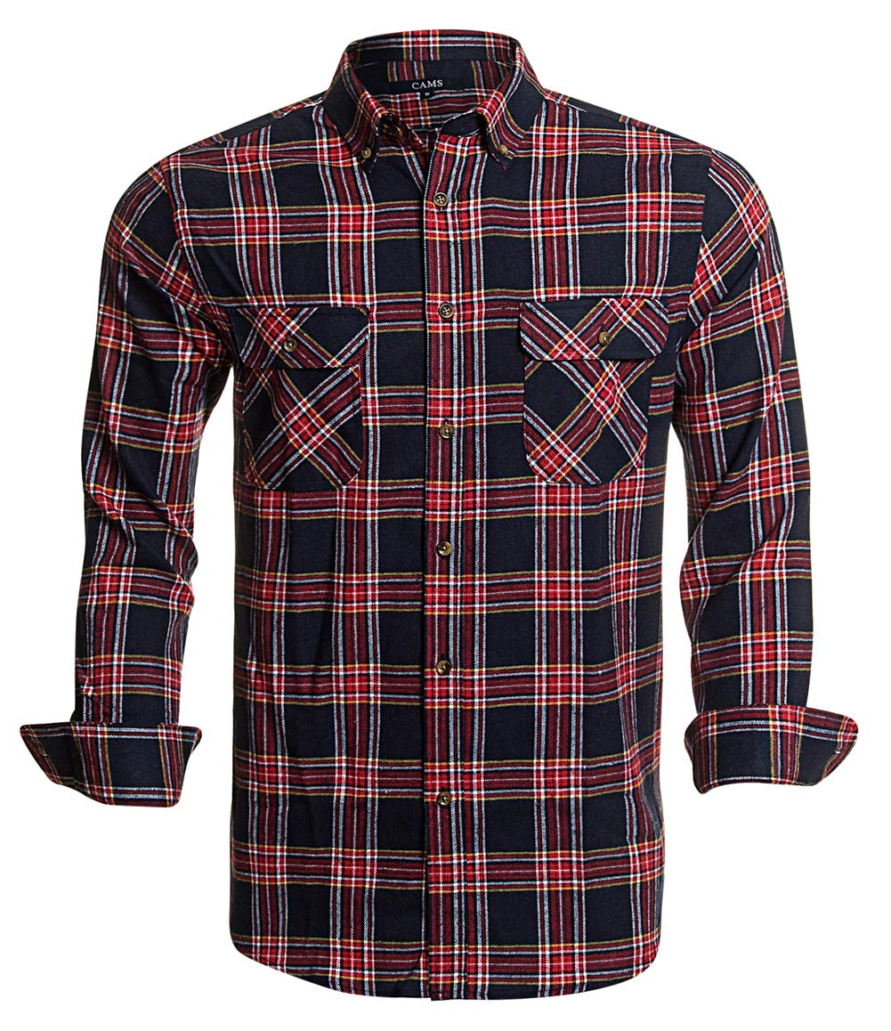 Flannel Shirts for Men Plaid Regular Fit Long Sleeve Button Down Mens Flannel Shirts,Red Navy 002,X-Large