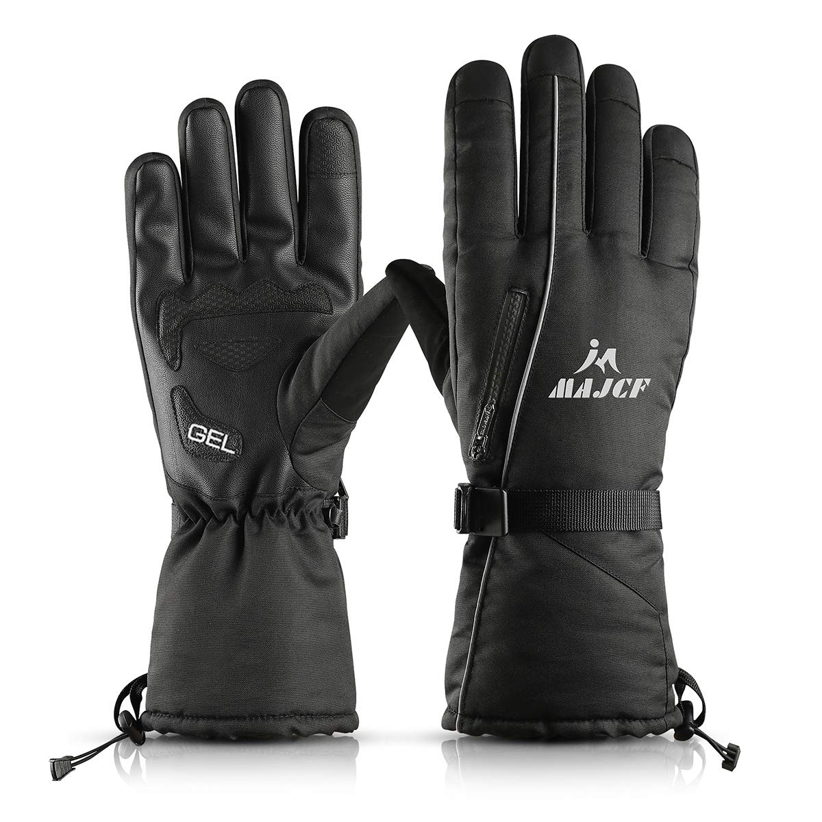 MAJCF Ski Gloves - Winter Warm 3M Insulation Waterproof Touchscreen Thermal Gloves (Black, L)
