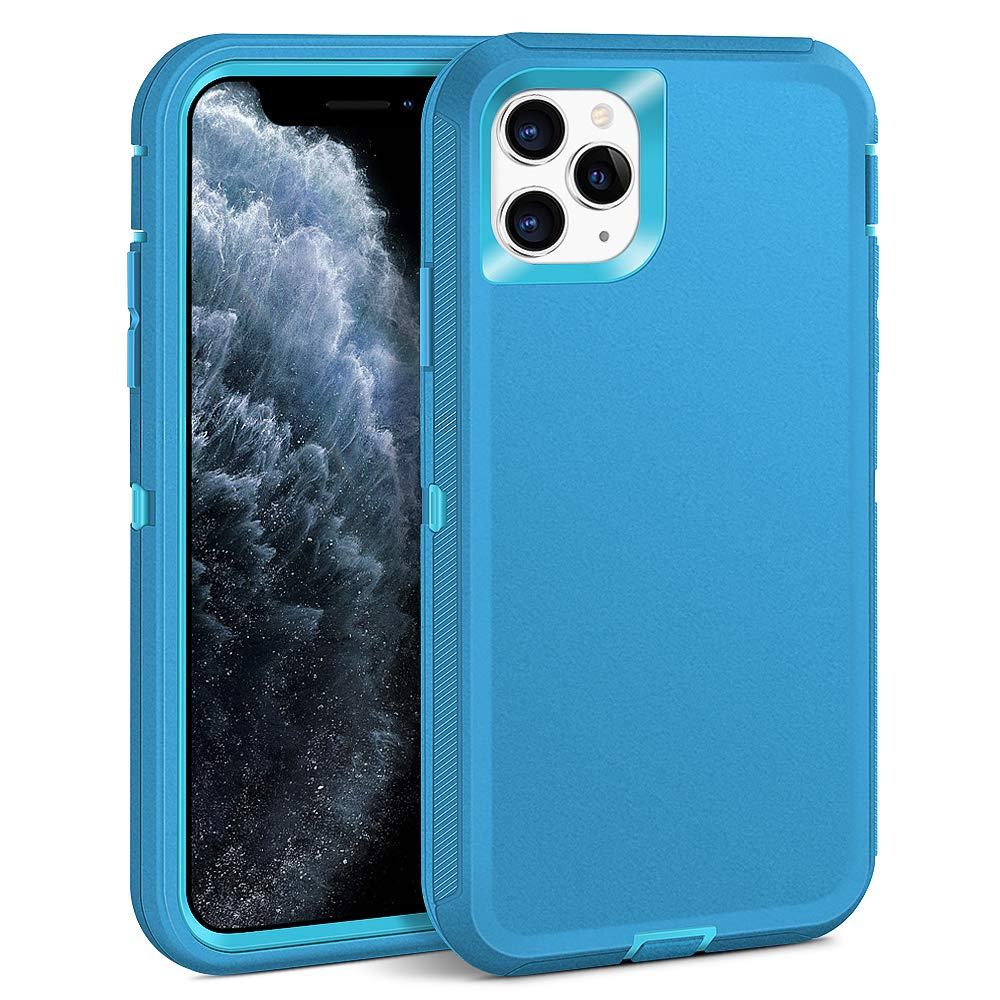 Dutyway iPhone 11 Pro Max Case,Heavy Duty Rugged Cases,Hybrid Three Layers Full-Body Protection Shockproof with Hard PC Soft rubber Protective Cover for iPhone 11 Pro Max 6.5 inch 2019,Light blue