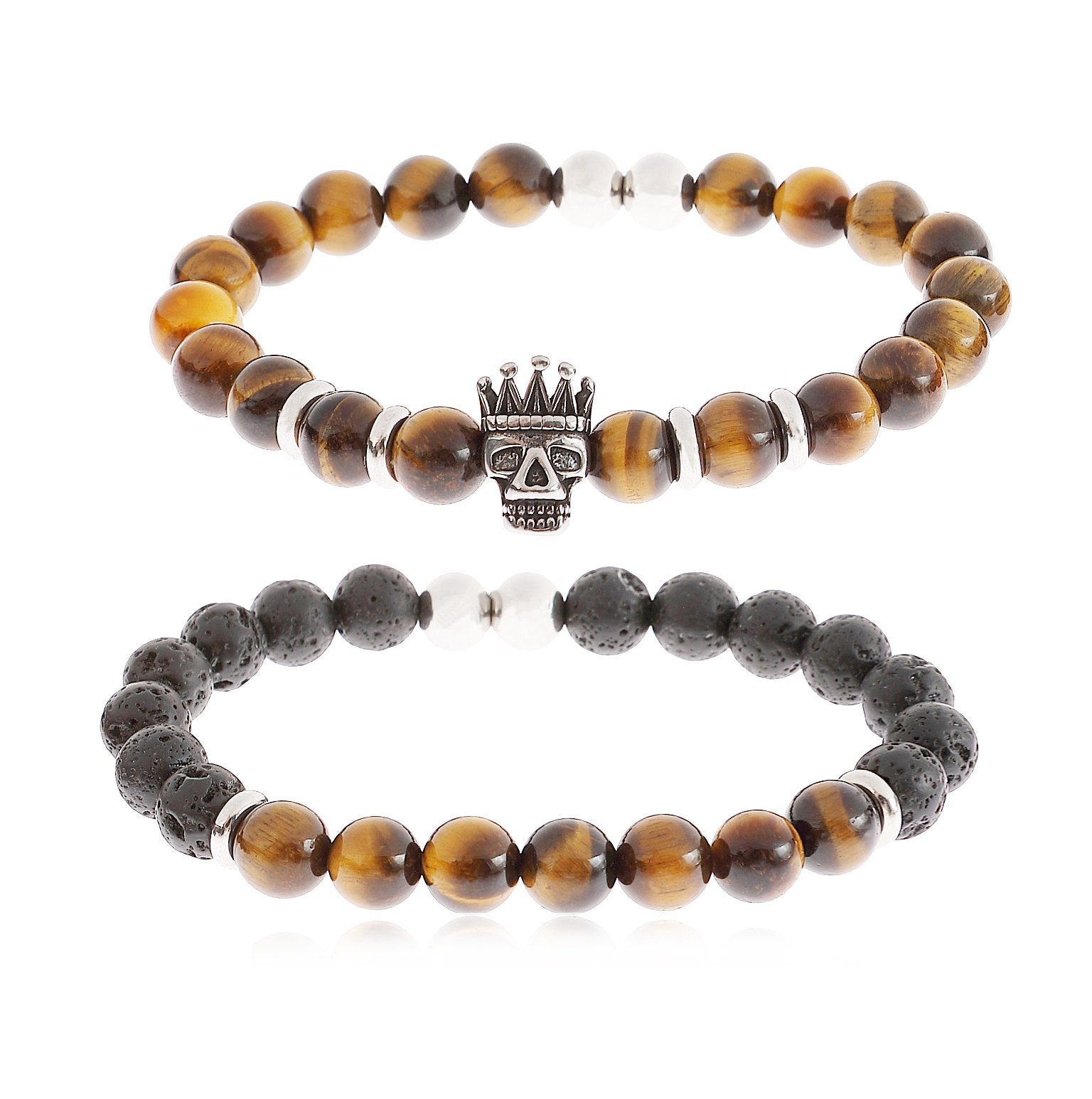 YILIBAO 8mm Tiger Eye Stone Lava Rock Bracelet Essential Oil Diffuser Yoga Beads, Stainless Steel Jewelry, Key Product Features: (Crown Skull)