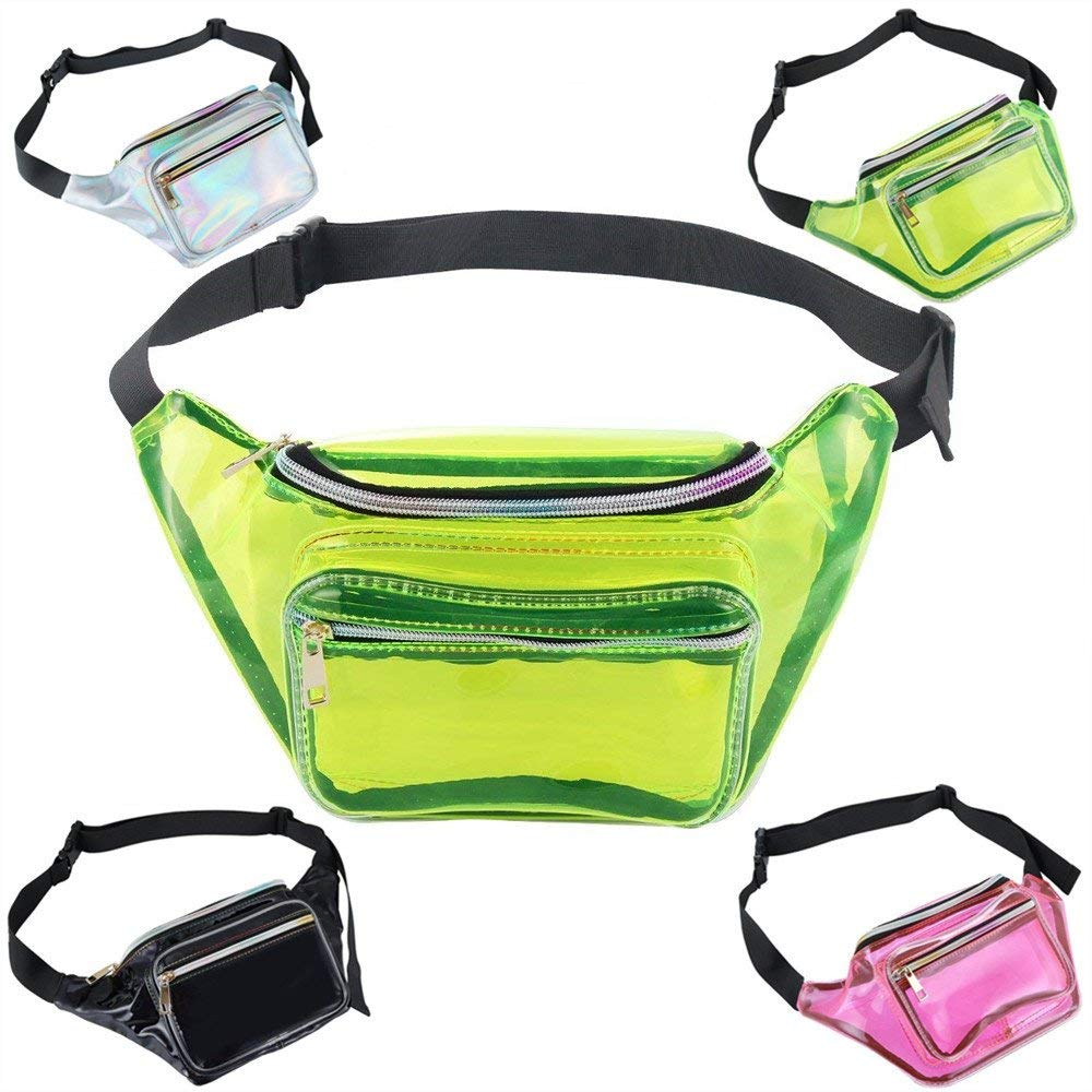 Neon Holographic Fanny Packs for Women and Men Waterproof Fashion