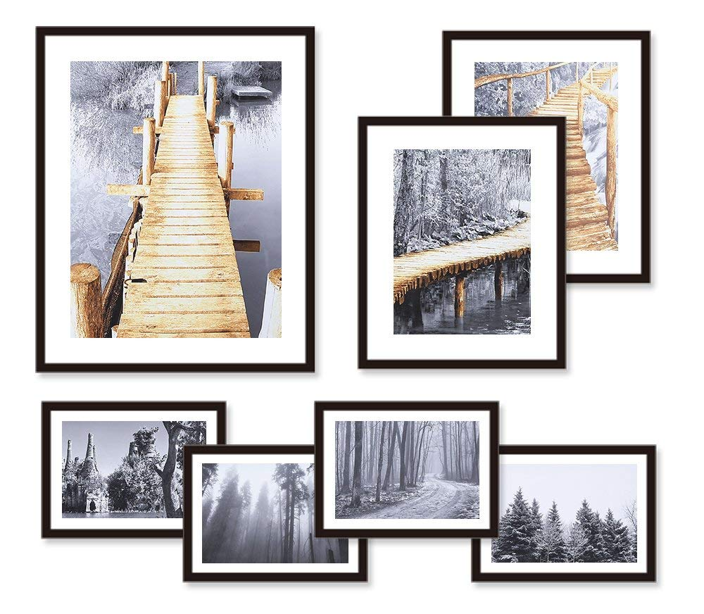 Gallery Picture Frames Set of 7 with Real Glass Window