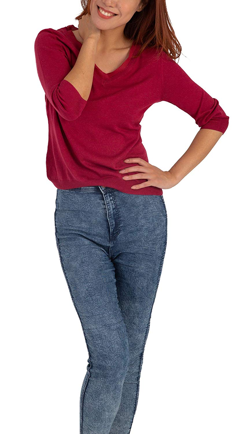Silk Vneck Knitting Tops - 3/4 Sleeve is suitable for work and casual