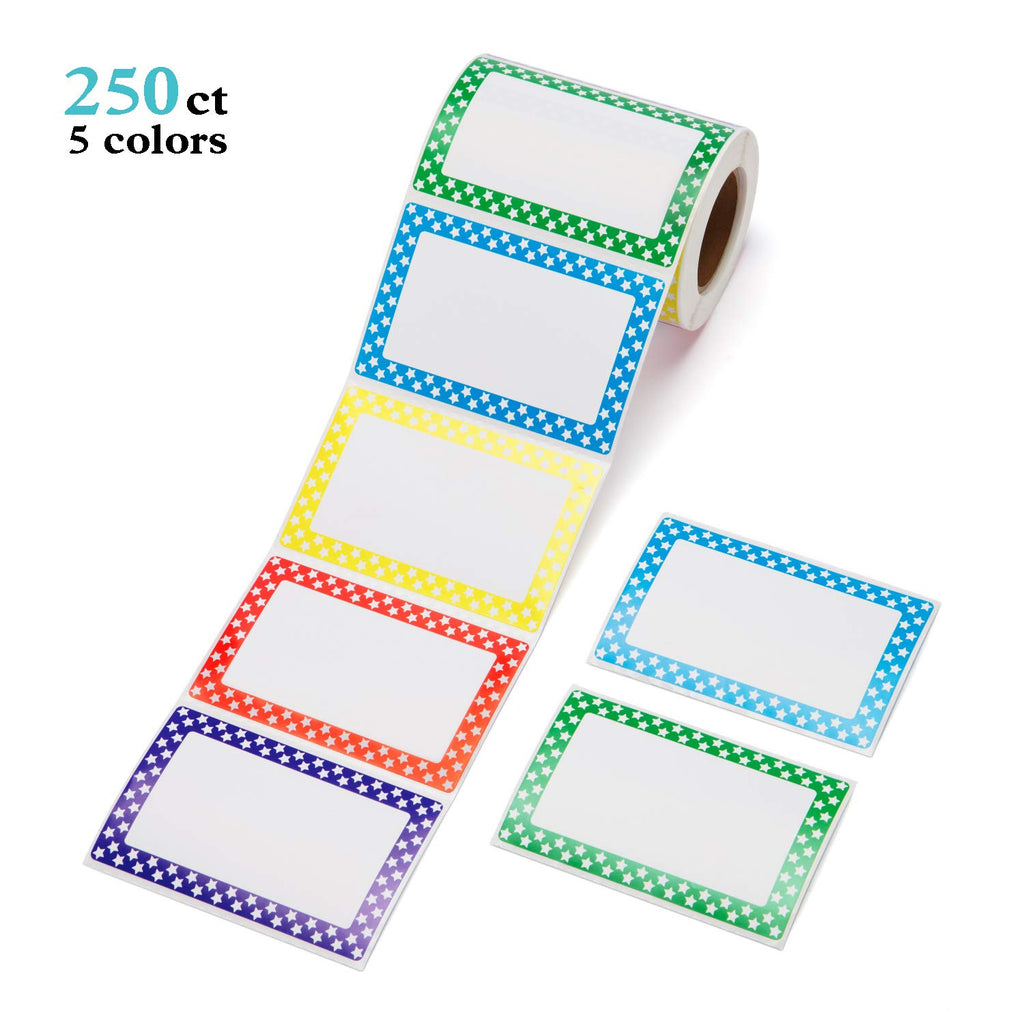 "Mionno 5 Colors Adhesive Name Tags, 250pc 3.5"" x2.25"" Plain Name Tags Sticker/Category Tags for Office, Meeting, Kindergarten, School, Teachers, Parties, Warehouses and Mailing"