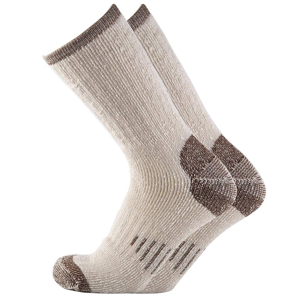 Men 70% Merino wool Crew Socks - NEVSNEV Warm Socks for Men, Athletic Socks for Hiking, Skiing,Trekking,Camping (1 Pair Brown)