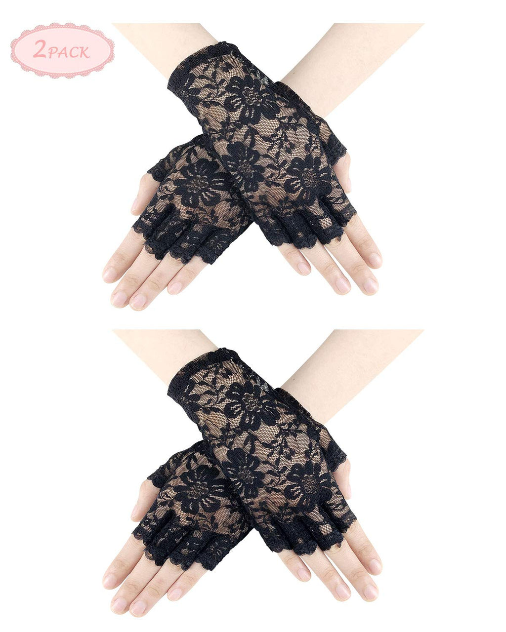 Women Lace Gloves - Wrist Length Gloves Fingerless Half Finger Bridal Gloves Accessories Dress Up