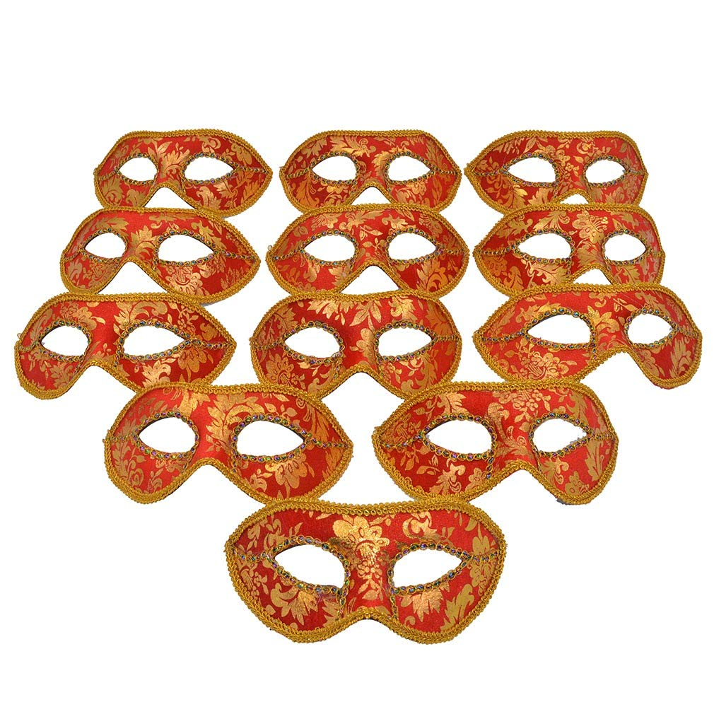 Yiseng Mascarade Mask Party Favors 12pcs Pack Mardi Gras Half Face Venetian Mask Costume Red Color