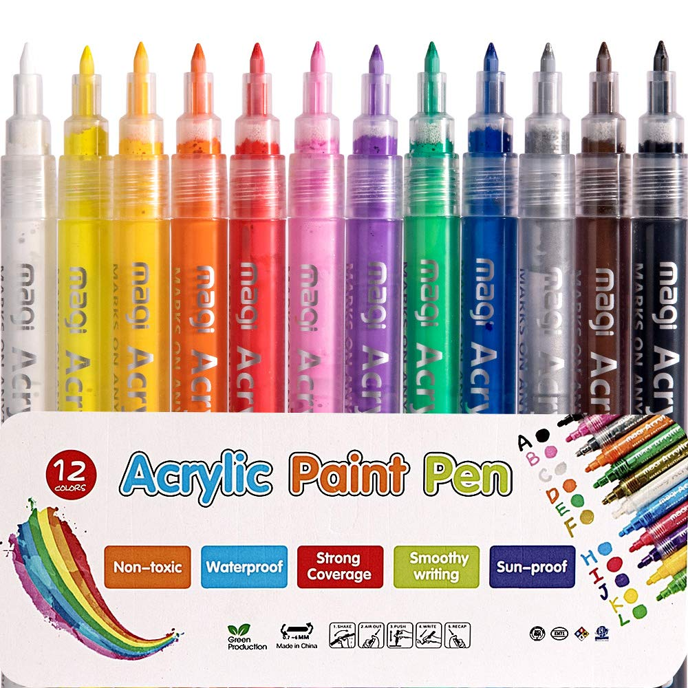 Acrylic Paint Pens – Non-Toxic Water Based 12colors Set Acrylic Paint Marker, can be Used on Surface of Rock, Metal, Glass, Wood, Canvas Painting, is a Good Helper for DIY Album, Graffiti, 0.7mm Nib