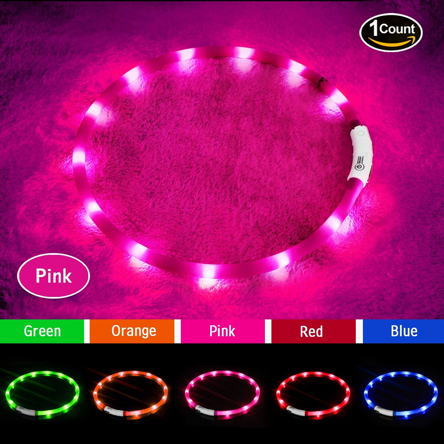 LED Dog Collar,USB Rechargeable Glowing Dog Collars, Light Up Collar Improved Pet Safety &Visibility at Night, 3 Flashing Modes,Water-Resistant Lighted Collar Fits For Small Medium Large Dogs
