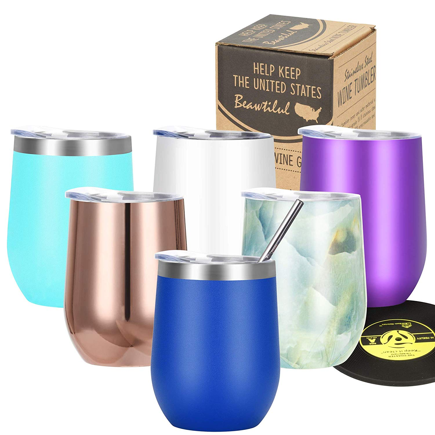Wine Tumbler Vacuum Insulated Stemless