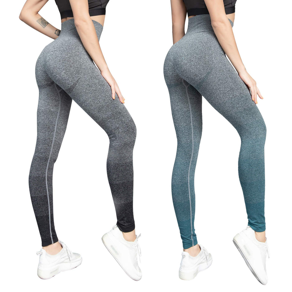 GRANKEE High Waist Yoga Pants - Workout Leggings for Women Girl Running Gym 7 Pack(B/DG 2 Pack M)