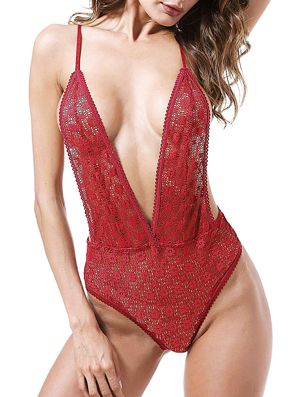 Lingerie for Women Sexy Teddy Lingerie Lace V Neck Bodysuit