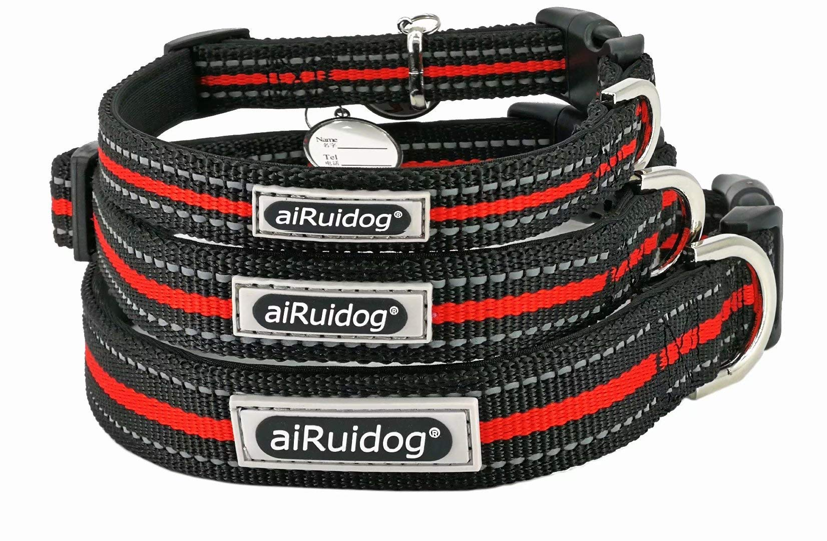 Dog Training Collar Reflective - Heavy Duty Nylon Lighted Wide Adjustable Snap Large, Meduim or Small Dog Collar for Male Female Pet Dog with Buckle and Soft Filler, Black and Red