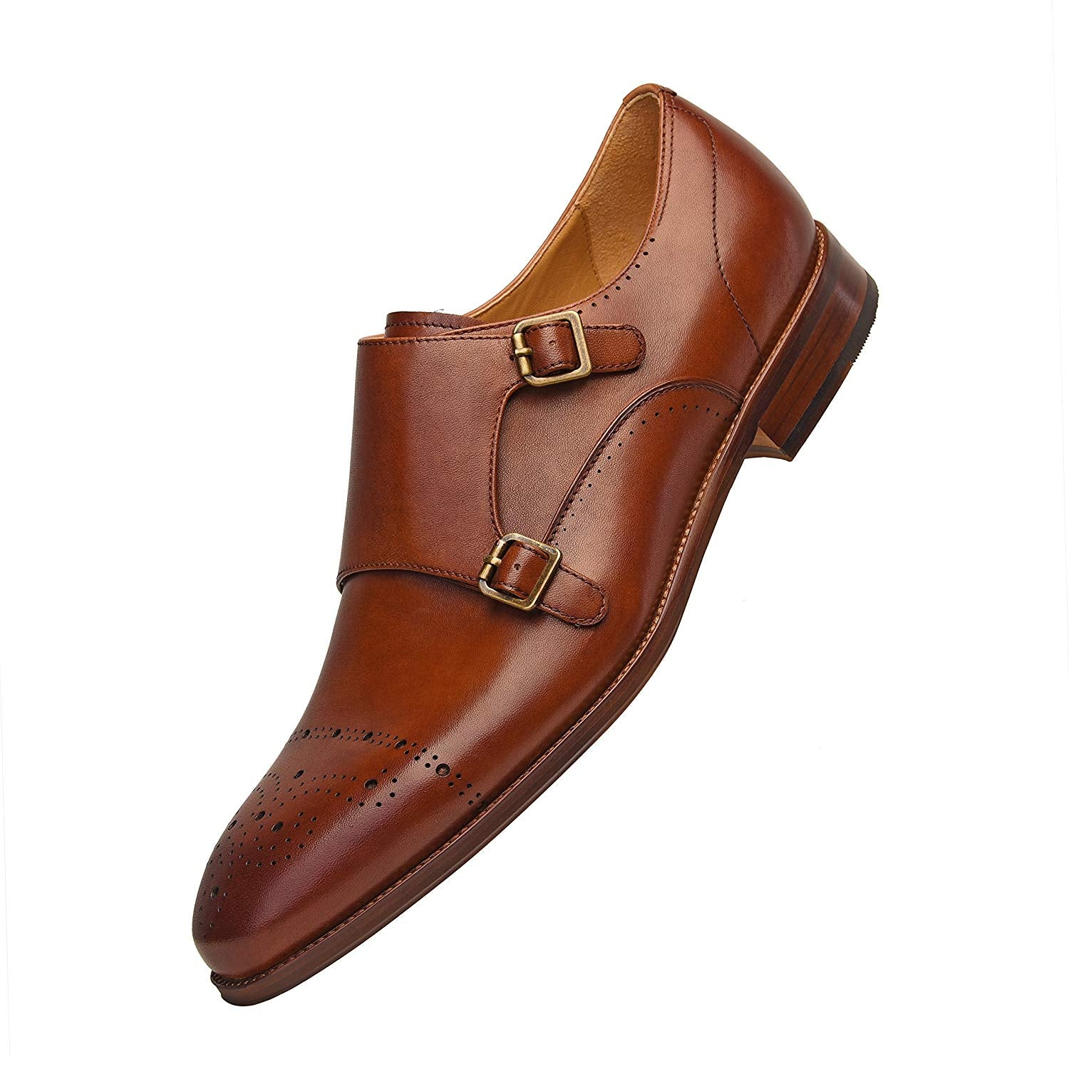 Men's Classic Double Monk Strap Full Grain Leather Shoes