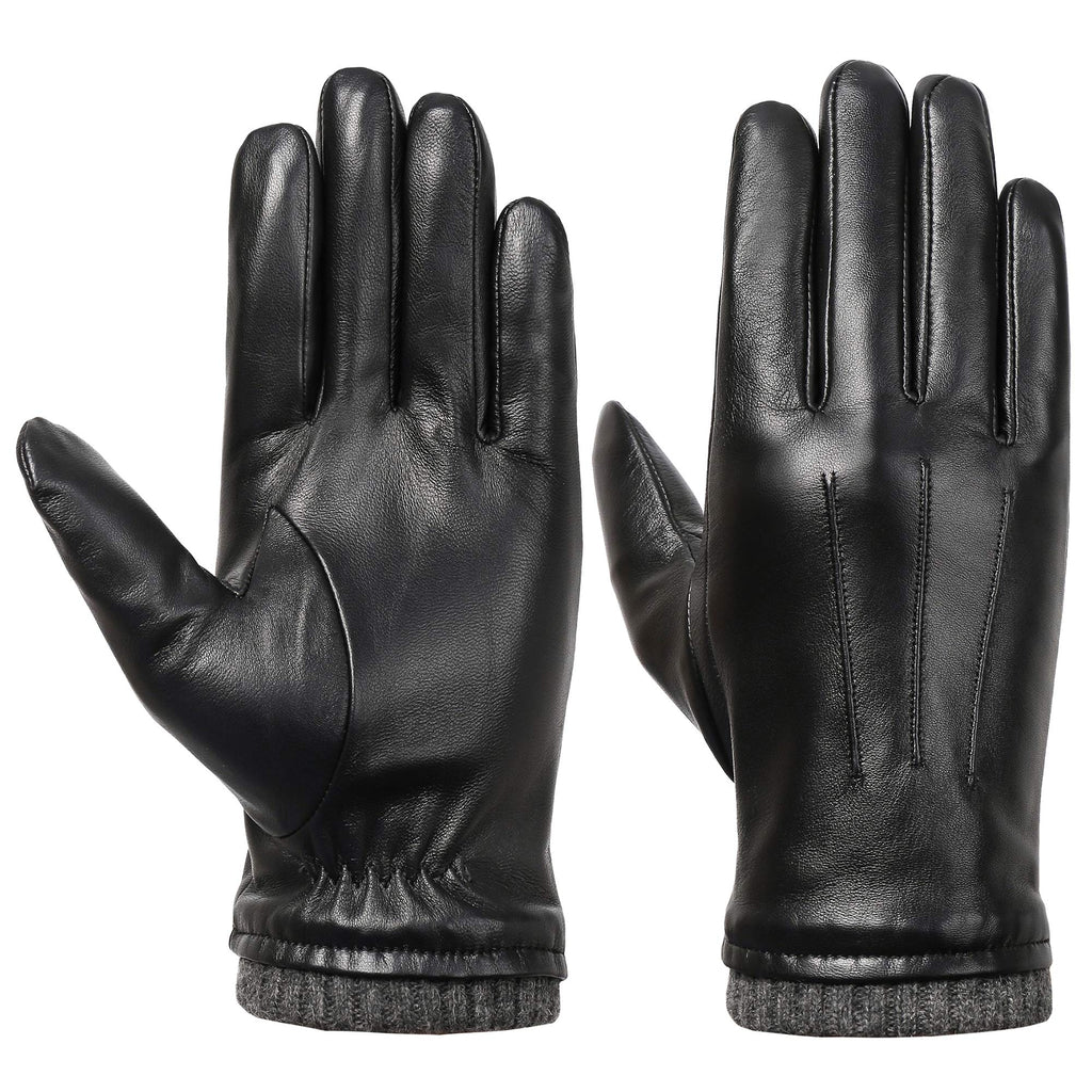 Men's Winter Touchscreen Leather Gloves - Isilila Leather Warm Texting Dress Driving Gloves with Fleece Lining