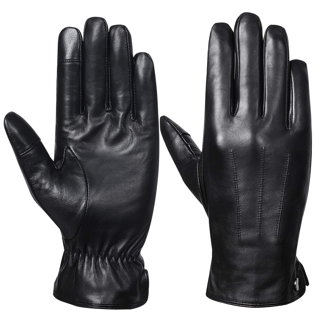Mens Winter Genuine Leather Gloves - Acdyion Luxury Touchscreen Warm Driving Wool Lined Gloves (Black, Large)