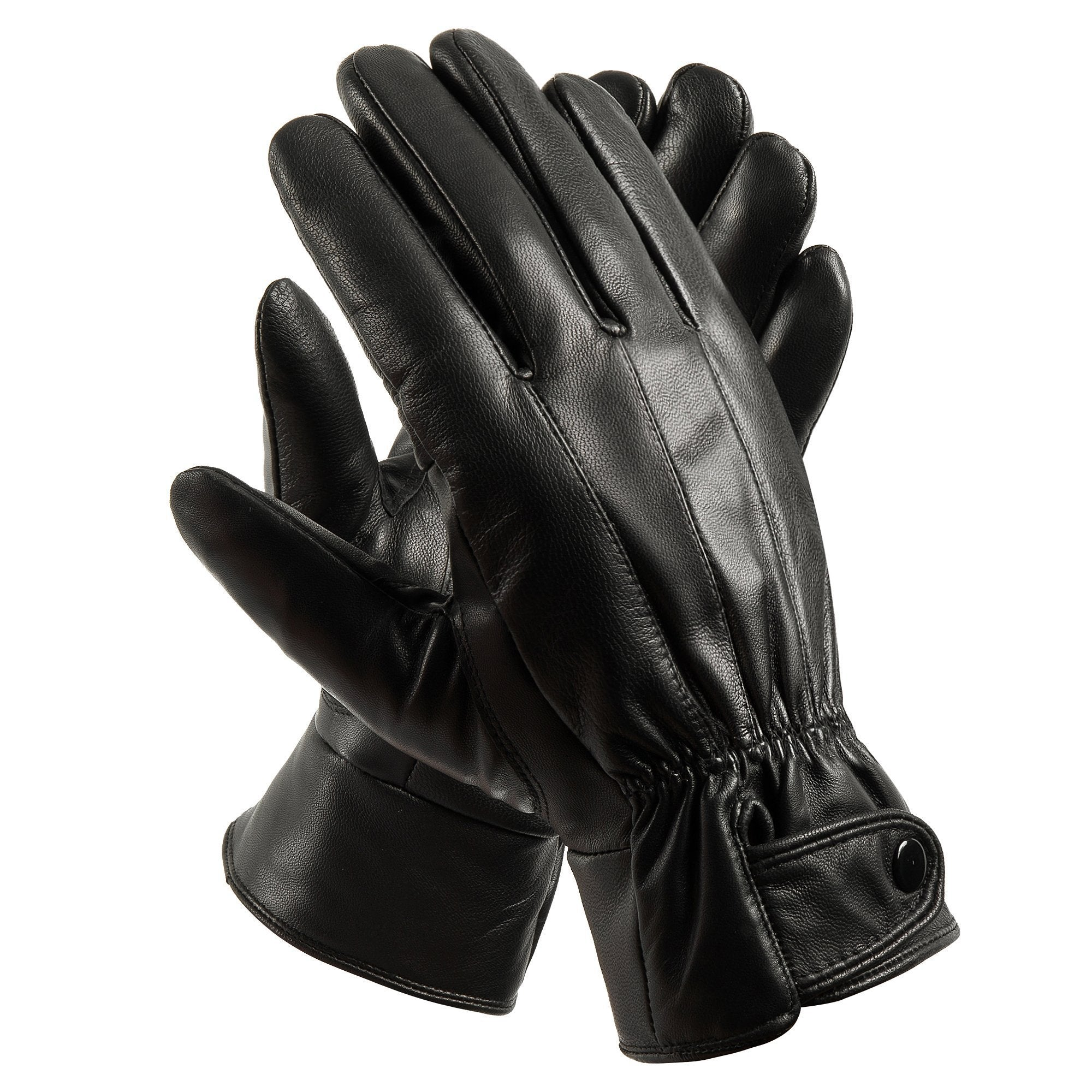 Anccion Men's Genuine Leather Warm Lined Driving Gloves, Motorcycle Gloves Black Large