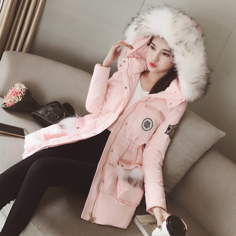 2018 Korean version of the new women's winter fur collar hooded letter patch waist was thin cotton padded jacket
