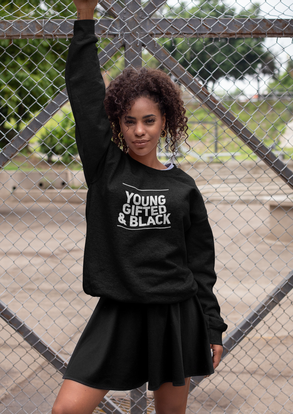 "CREWNECK SWEATER / ""YOUNG GIFTED & BLACK"""