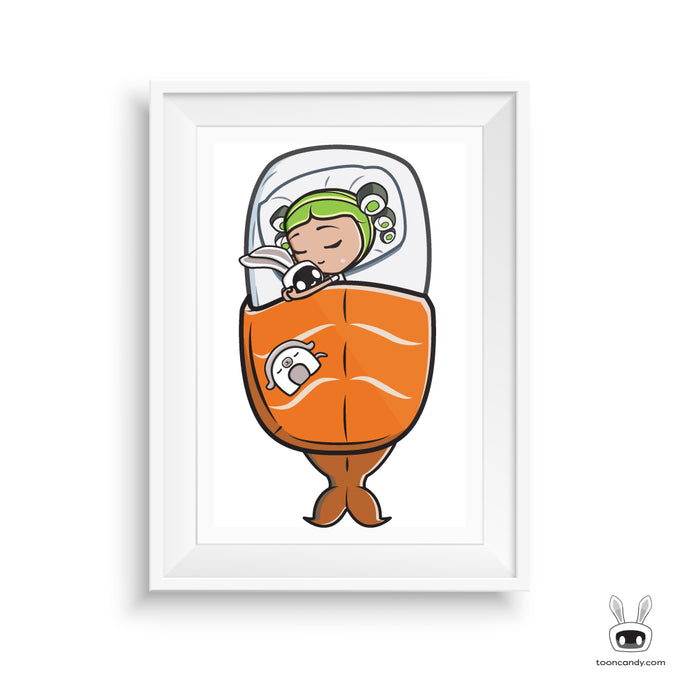 Ava-Sleeping-Nigiri-Sushi-Bed-Sushi-Art-Print