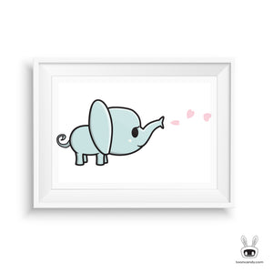 Elephant Nursery Art Print: Hearts