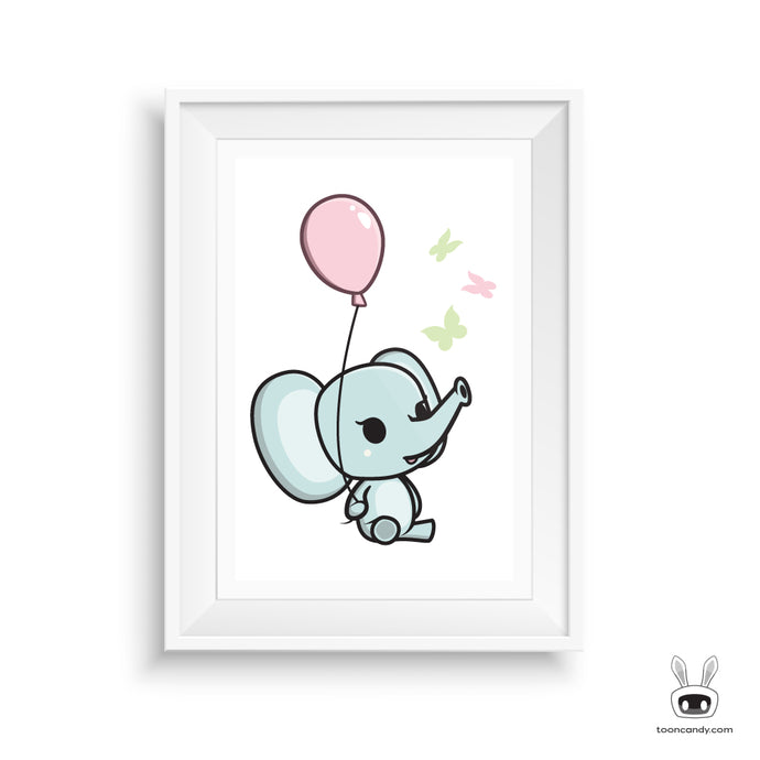 Elephant Nursery Art Print: Balloon