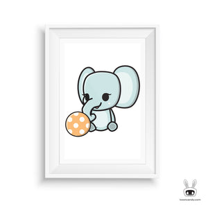 Elephant Nursery Art Print: Playing With Ball