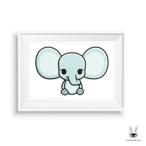 Elephant Nursery Art Print: Sitting