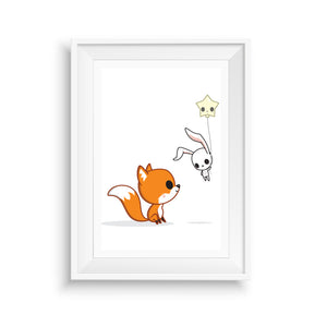 Fox and Bunny Nursery Art Print