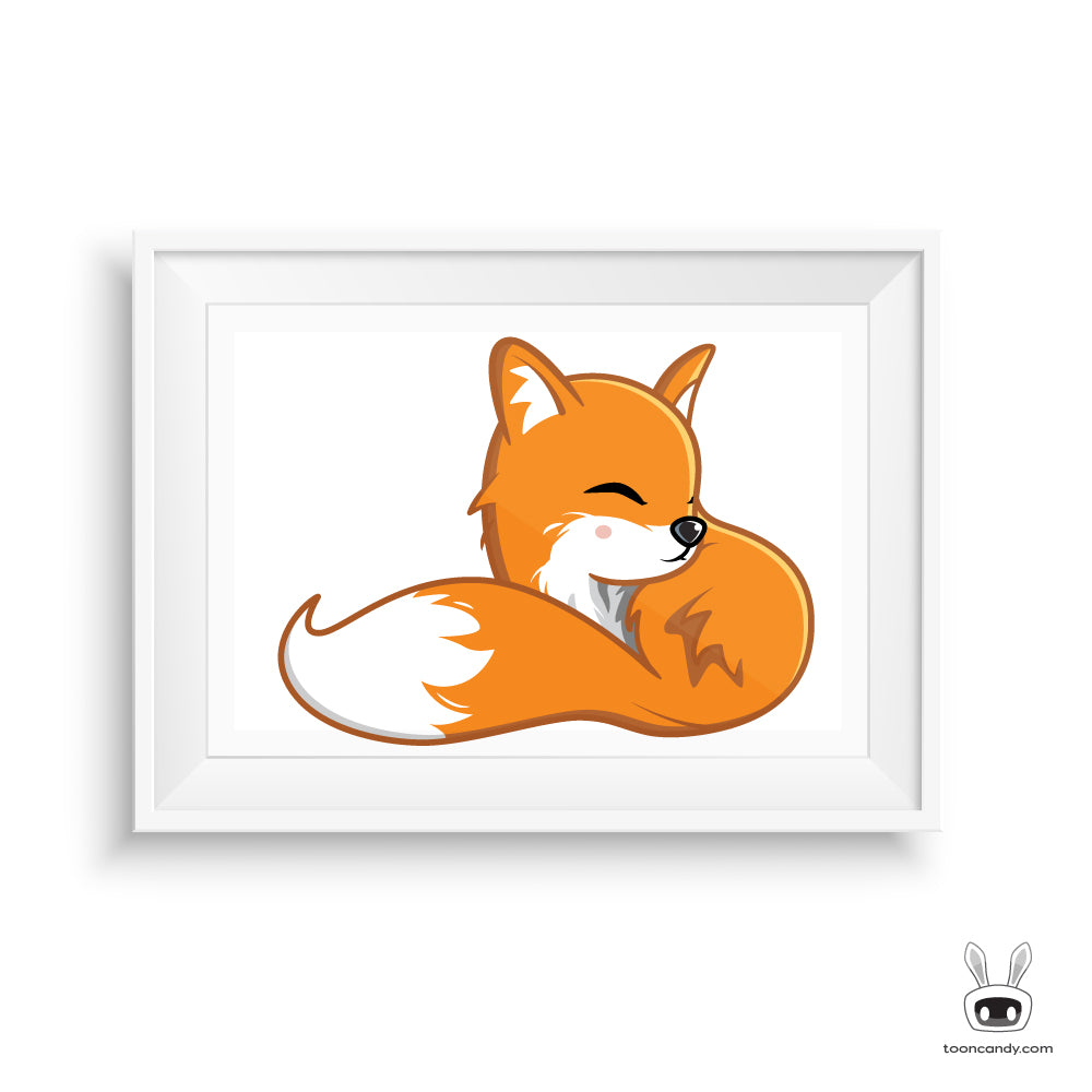Sleeping Fox Nursery Art Print (Nest in the City Exclusive)