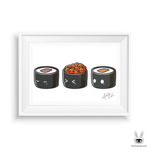 Maki-Sushi-Roll-Art-Print-Salmon-Tuna-Kawaii