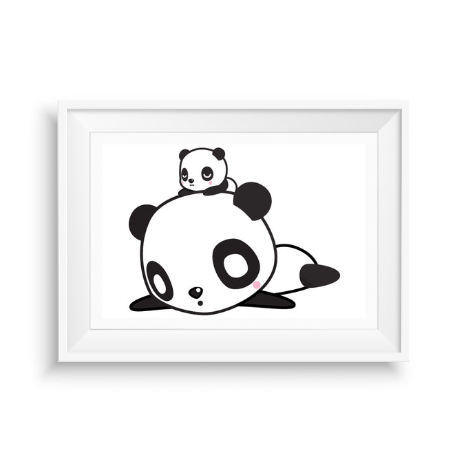 Pandas Stacked Art Print