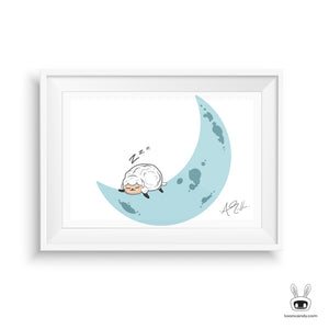 Sheep Nursery sleeping on the moon print