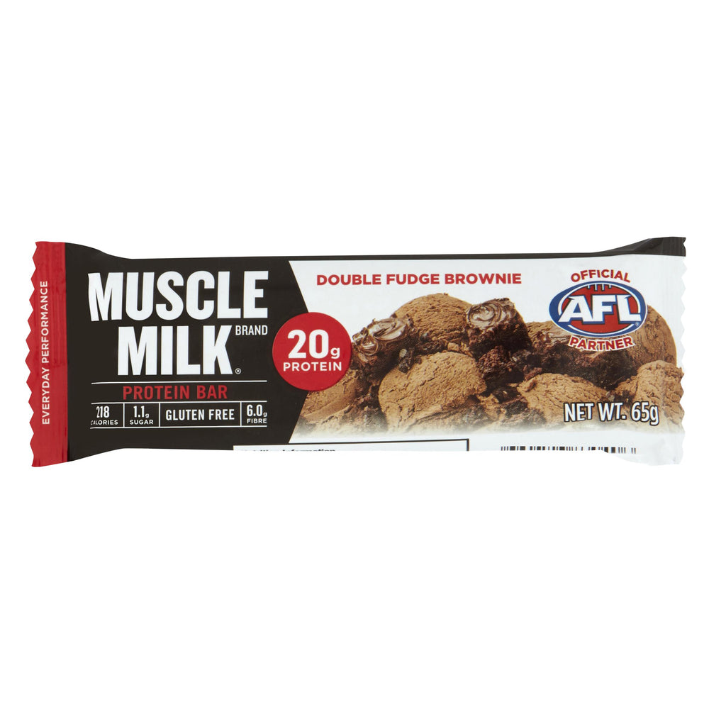 A MUSCLE MILK double fudge brownie flavoured protein bar.